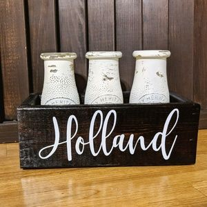 Other - Rustic milk bottles and box